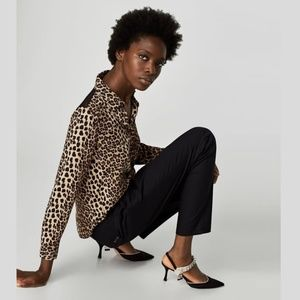 ZARA Animal Print Blouse with Lace